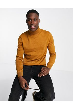 SELECTED Roll neck jumper in yellow