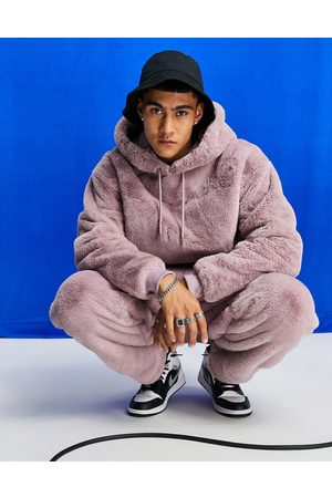 ASOS Men Hoodies - Oversized faux-fur hoodie in pink (Part of a co-ord)