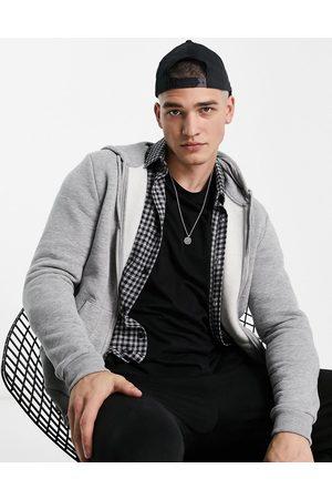 ASOS Men Hoodies - Zip up hoodie in grey marl