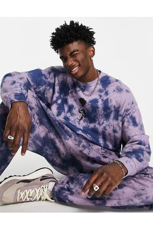 ASOS Co-ord oversized sweatshirt in tie dye with rose print-Green
