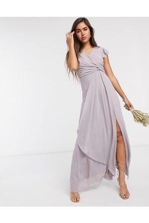 TFNC Bridesmaid flutter sleeve ruffle detail maxi dress in lavender