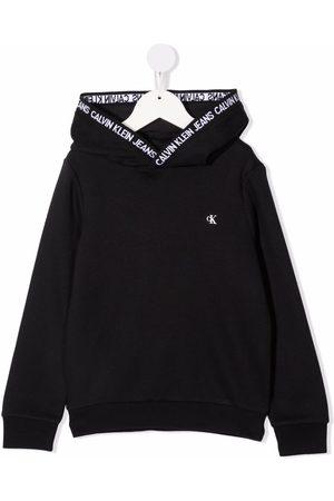 Calvin Klein Girls Sweaters - Logo-print hooded jumper
