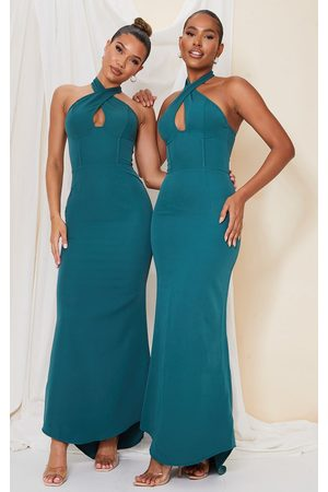 PRETTYLITTLETHING Emerald Bridesmaid Corset Detail Cross Front Maxi Dress