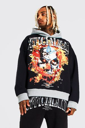 Boohoo Mens Oversized Official Man Flames Washed Hoodie
