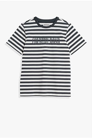 COUNTRY ROAD Boys Short Sleeve - Teen Verified Australian Cotton Heritage Stripe T-Shirt - Charcoal