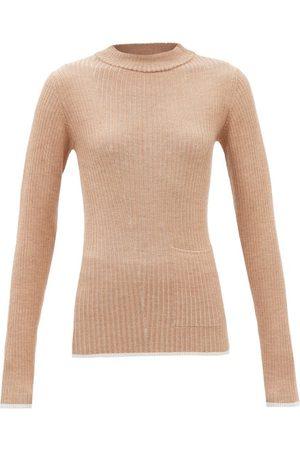 Falke Women Sweaters - High-neck Patch-pocket Wool-blend Sweater - Womens - Camel