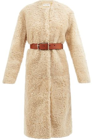 Chloé Belted Shearling Coat - Womens - Cream