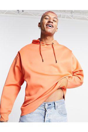 ASOS Men Hoodies - Oversized clean scuba hoodie in orange