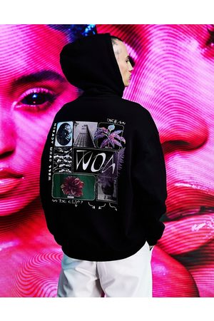 ASOS Oversized hoodie in with multi placement graphics