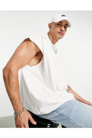 ASOS Extreme oversized tank with modesty triangle in cream-White