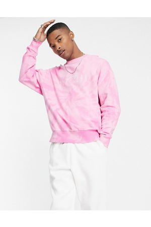 ASOS Oversized sweatshirt in pink tie dye with New York city embroidery