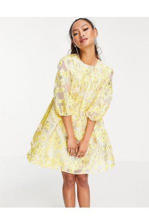 ASOS Mini dress with puff sleeves in yellow-Multi