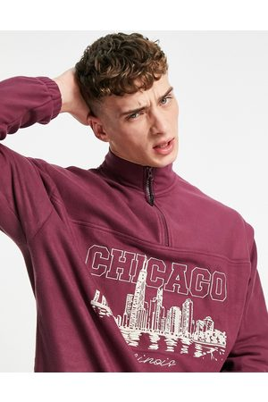 ASOS Oversized half-zip in fleece with Chicago chest embroidery-Red