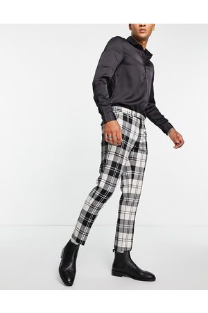Twisted Tailor Men Formal Pants - Smart pants in and white check with pocket chain detail