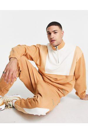 ASOS Men Sweatshirts - Co-ord oversized half zip sweatshirt with contrast panel details-Brown