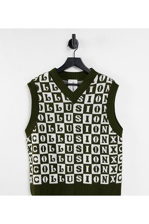 COLLUSION Tank Tops - Unisex knitted tank in checkerboard