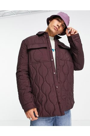 ASOS Men Winter Jackets - Quilted shacket in burgundy