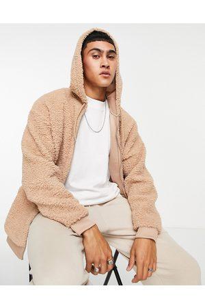 ASOS Oversized zip up hoodie in teddy borg-Neutral