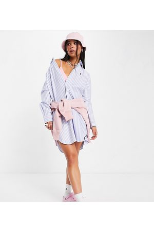 Polo Ralph Lauren X ASOS exclusive collab oversized shirt dress in light blue-White