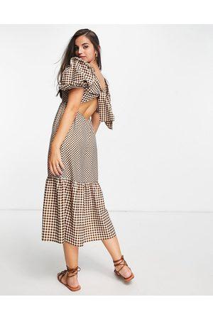 Miss Selfridge Tie-back midi dress in gingham mix