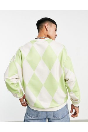 ASOS Men Sweatshirts - Oversized sweatshirt in washed green with all over argyle print