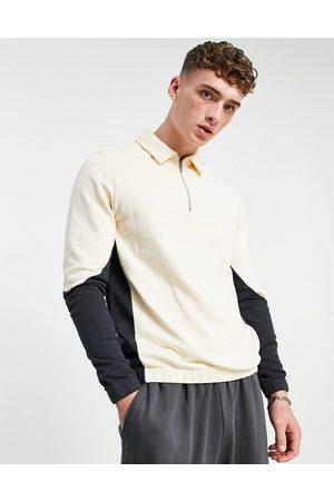 ASOS Oversized half zip polo sweatshirt in colour block-Neutral