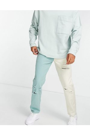 Liquor N Poker (part of a co-ord) spliced straight leg jeans in green and off-white with distressing