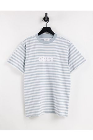 Obey Women Short Sleeve - Oversized T-shirt in grey stripe with embroidered logo