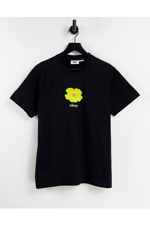 Obey Women Short Sleeve - Oversized T-shirt with yellow flower graphic