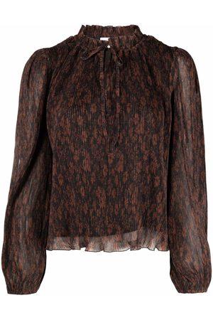 Ganni Long-sleeve pleated blouse