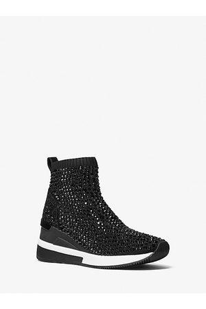 Michael Kors Women Platform Sneakers - MK Skyler Crystal Embellished Stretch Knit Sock Sneaker - - Michael Kors