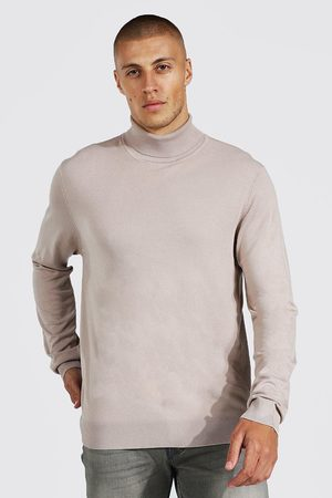 Boohoo Mens Taupe Recycled Regular Roll Neck Jumper
