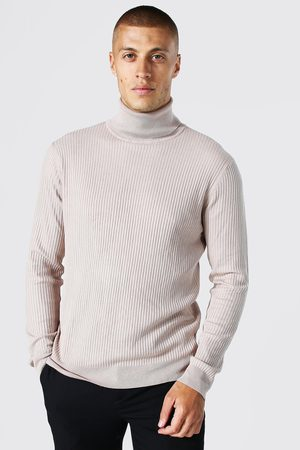 Boohoo Mens Taupe Recycled Regular Roll Neck Ribbed Jumper