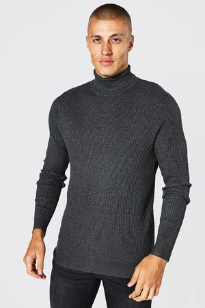 Boohoo Mens Charcoal Recycled Regular Roll Neck Ribbed Jumper