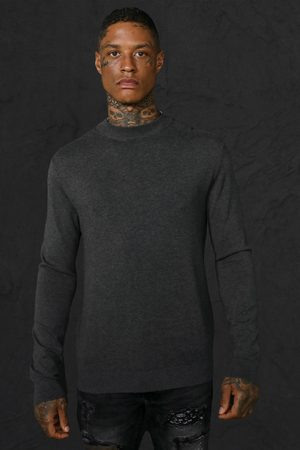 Boohoo Mens Charcoal Recycled Regular roll/polo neck Jumper