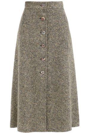 Chloé Women Midi Skirts - Button-front Wool-blend Tweed Midi Skirt - Womens - Light
