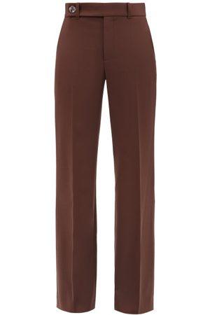 Chloé Wool-blend Crepe Flared-leg Trousers - Womens - Burgundy