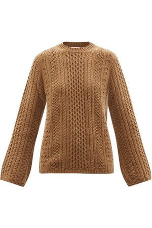 Chloé Lace-knitted Wool-blend Sweater - Womens - Camel