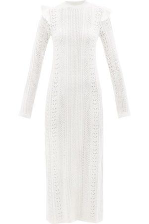Chloé Ruffled Cable-knit Wool-blend Midi Dress - Womens