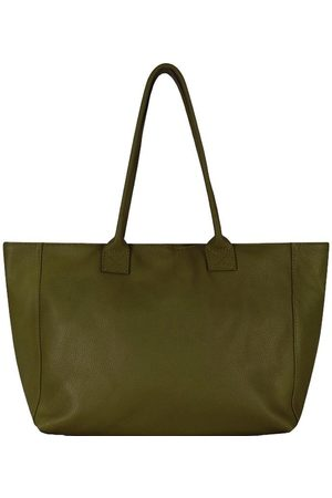 Sostter Olive Horizontal Zipped Leather Tote