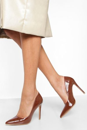 Boohoo Stiletto Court Shoes- Chocolate