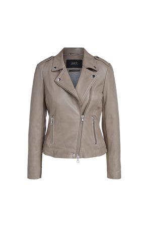 SET SET Leather biker jacket TAUPE