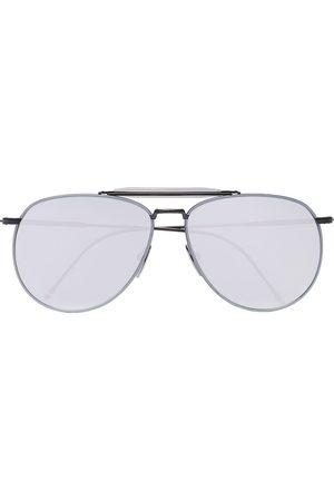 Thom Browne Sunglasses - Metallic Silver Aviator Sunglasses
