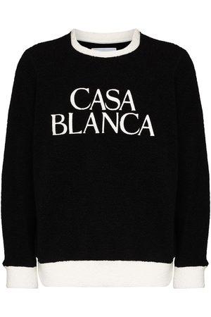 Casablanca Men Sweatshirts - Embroidered logo terry cloth sweatshirt