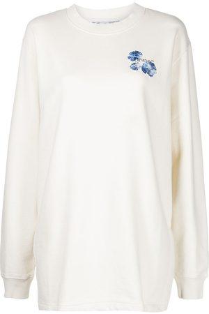 OFF-WHITE Floral logo-print sweatshirt dress