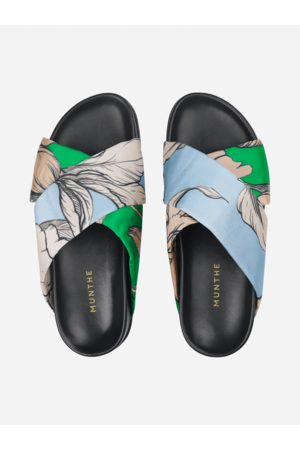 Munthe Women Thongs - TUMERIC SLIDES IN ICE BLUE AND GREEN