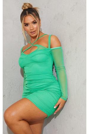 PRETTYLITTLETHING Women Bodycon Dresses - Shape Bright Mesh Ring Halterneck Ruched Bodycon Dress