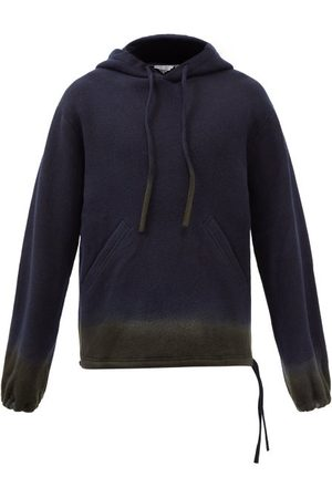 NICK FOUQUET Timmy Dip-dyed Wool-blend Hooded Sweatshirt - Mens - Navy