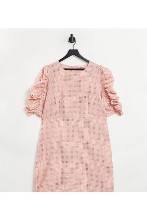 ONLY Women Mini Dresses - Textured mini dress with ruched sleeves in pink check