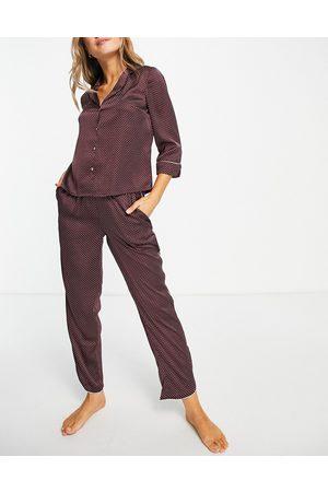VERO MODA Satin piped pyjama set in -Red